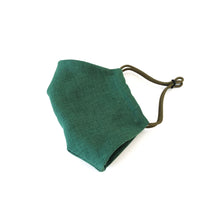 Reusable Emerald Green Linen Face Mask - Bow Tie House