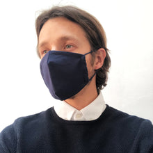 Reusable Navy Blue Linen Face Mask - Bow Tie House
