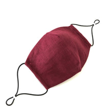 Reusable Dark Red Linen Face Mask - Bow Tie House