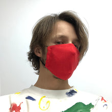 Reusable Bright Red Linen Face Mask - Bow Tie House