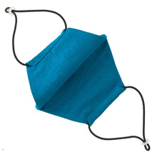 Reusable Cerulean Blue Linen Face Mask - Bow Tie House