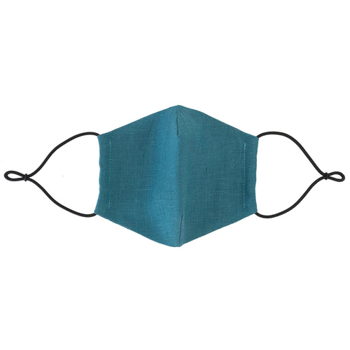 Reusable Pine Blue Linen Face Mask - Bow Tie House