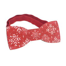 Wooden Red Snowflakes Bow Tie