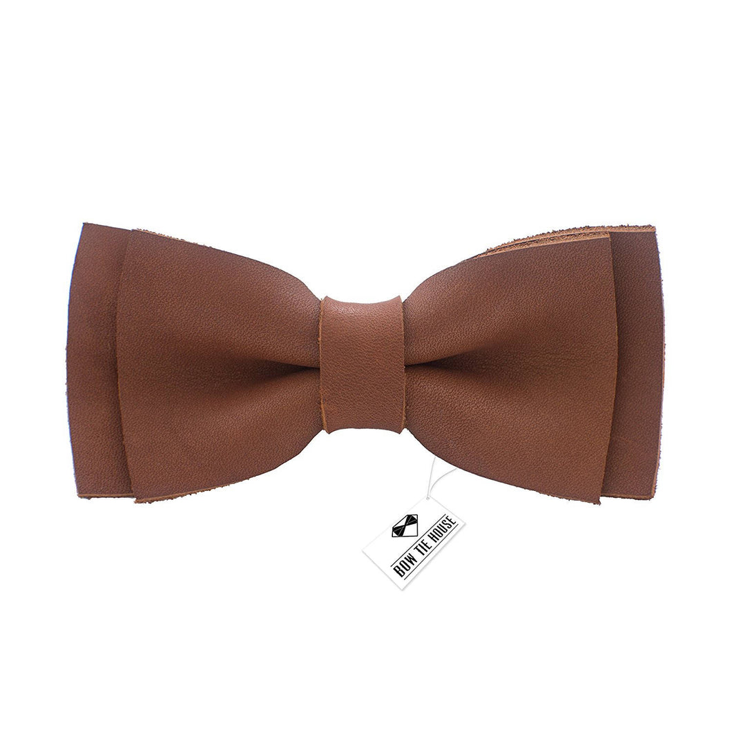 Leather Spice Brown Bow Tie