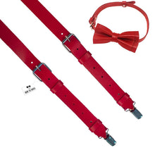 Red Leather Suspenders with Bow Tie - Bow Tie House
