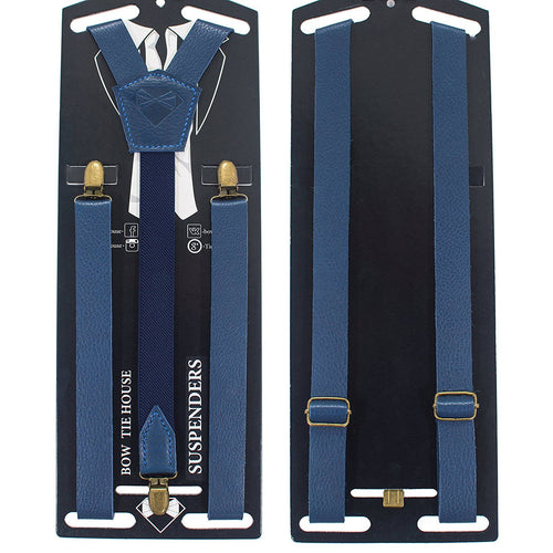 Blue Leather Suspenders