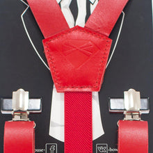 Red Leather Suspenders - Bow Tie House