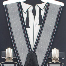 Striped-Dots Grey Suspenders - Bow Tie House