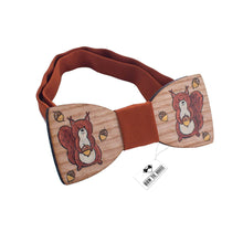 Wooden Brown Squirrel Bow Tie