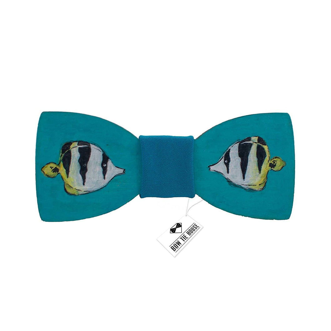 Turquoise Fish Bow Tie