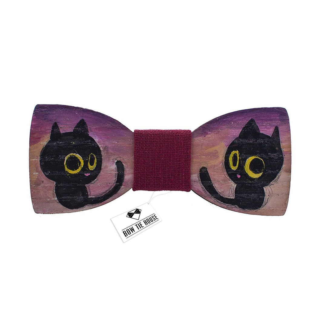 Wine Red Tiny Cat Bow Tie - Bow Tie House