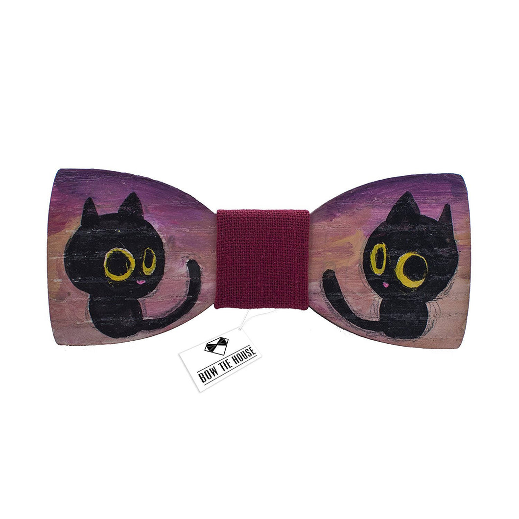 Wooden Tiny Cat Bow Tie