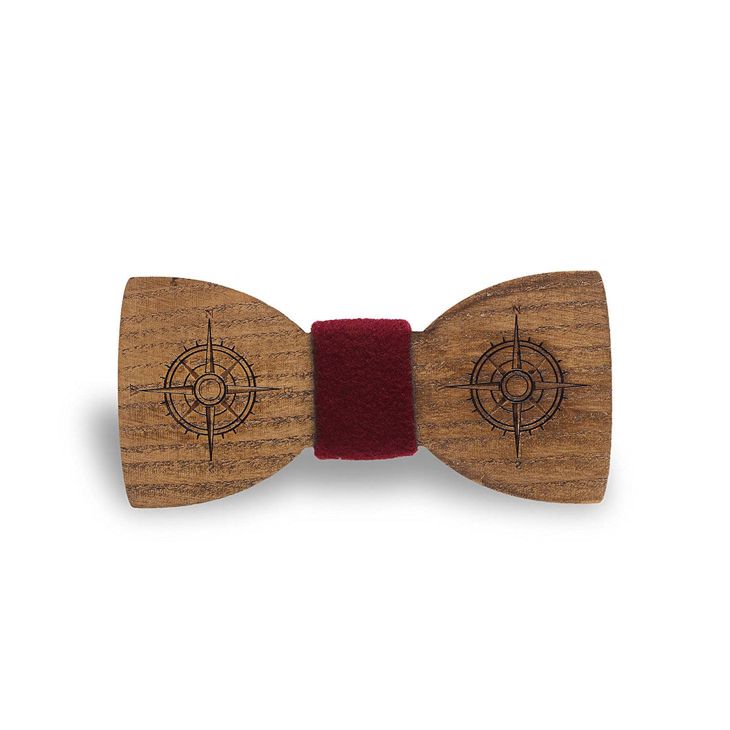 Wooden Compass Red Bow Tie