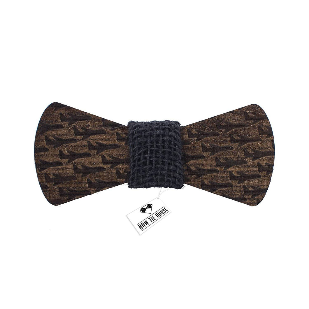 Wooden Plane Black Bow Tie - Bow Tie House