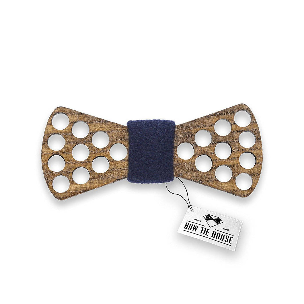 Wooden Holes Blue Bow Tie