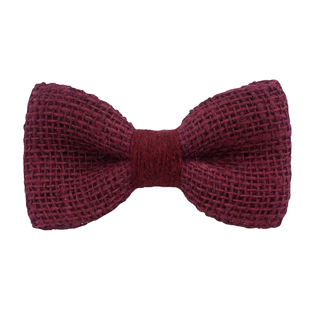 Burlap Rustic Dark Red Bow Tie - Bow Tie House
