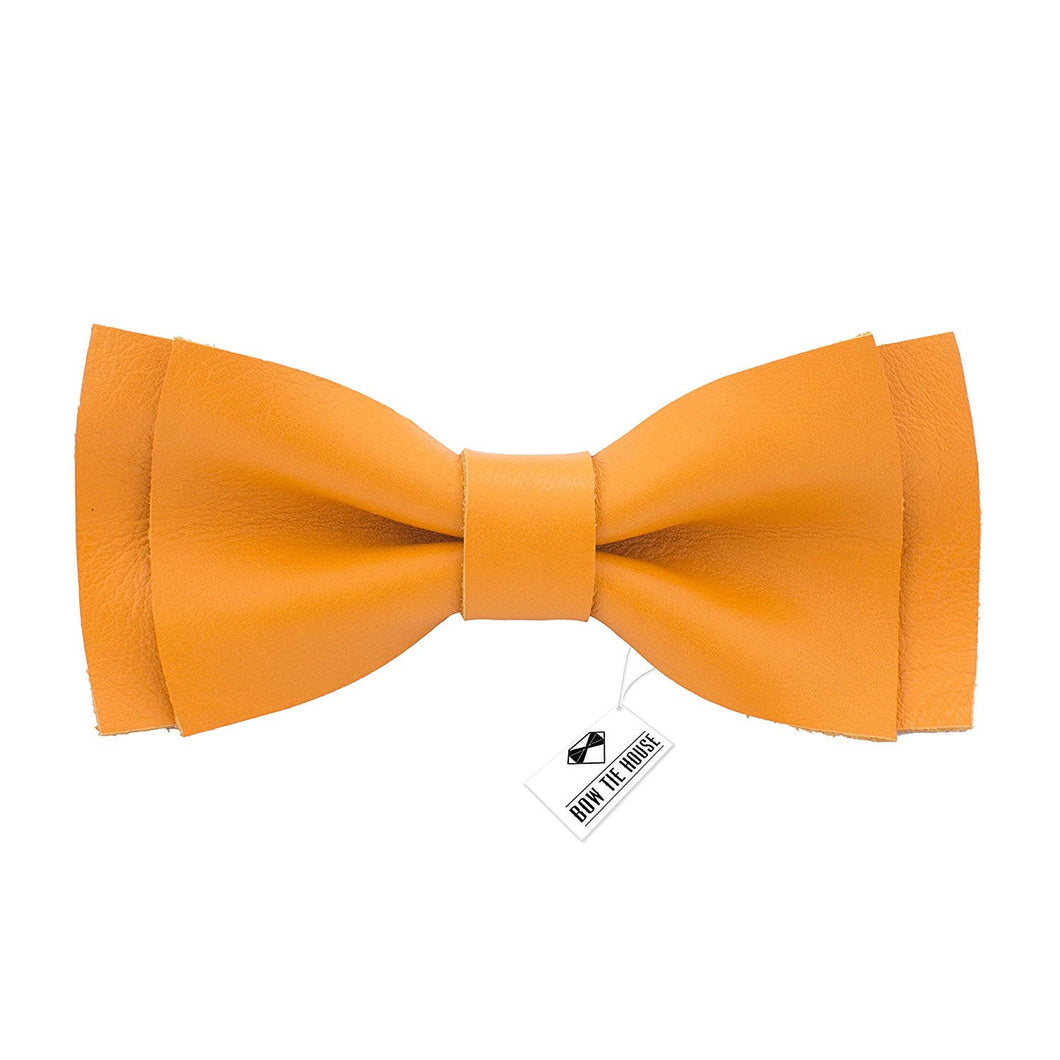 Leather Bright Yellow Bow Tie - Bow Tie House