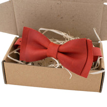 Leather Matt Red Bow Tie - Bow Tie House