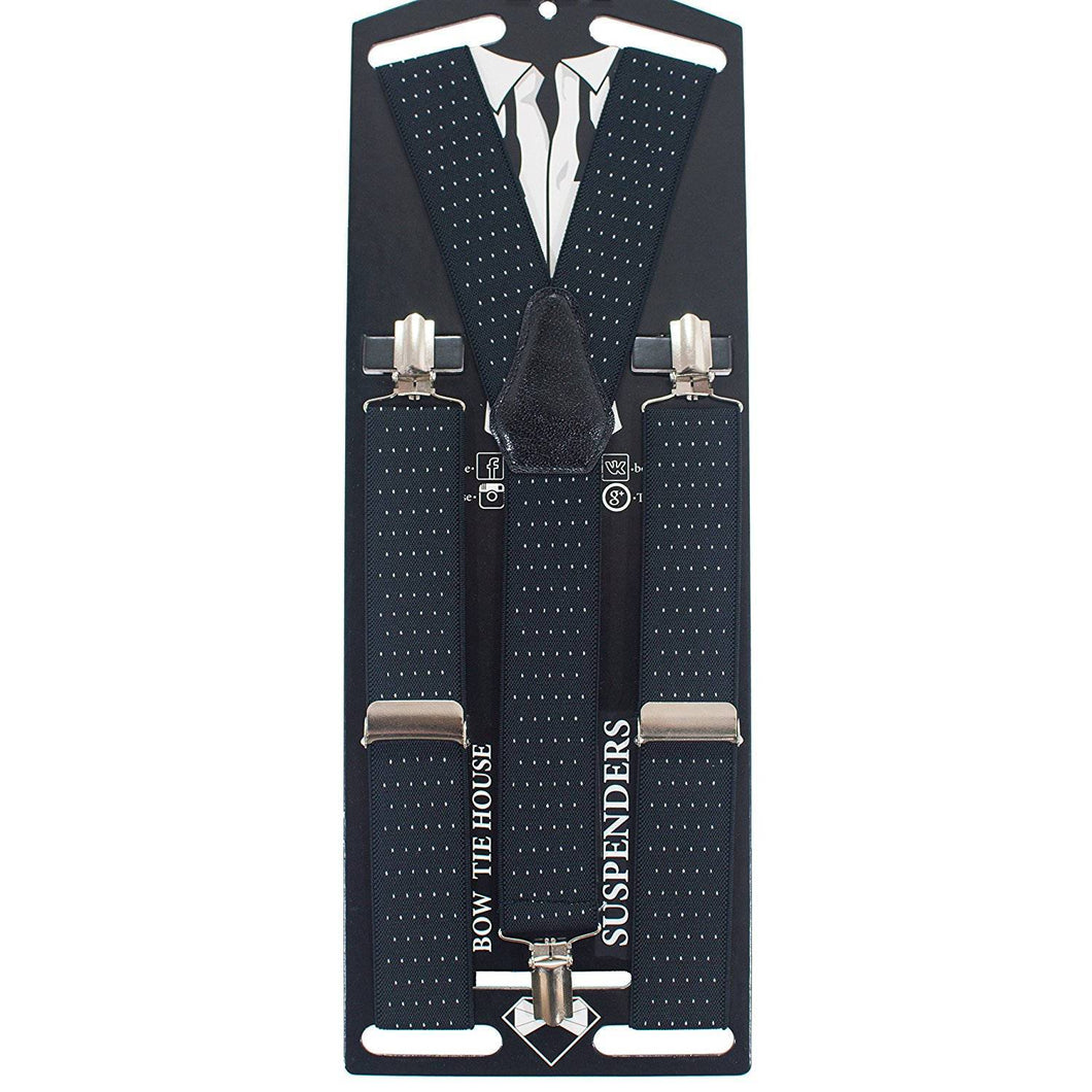 Polka Dots Black Suspenders - Bow Tie House