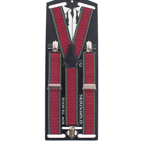 Striped-Dots Red Suspenders - Bow Tie House