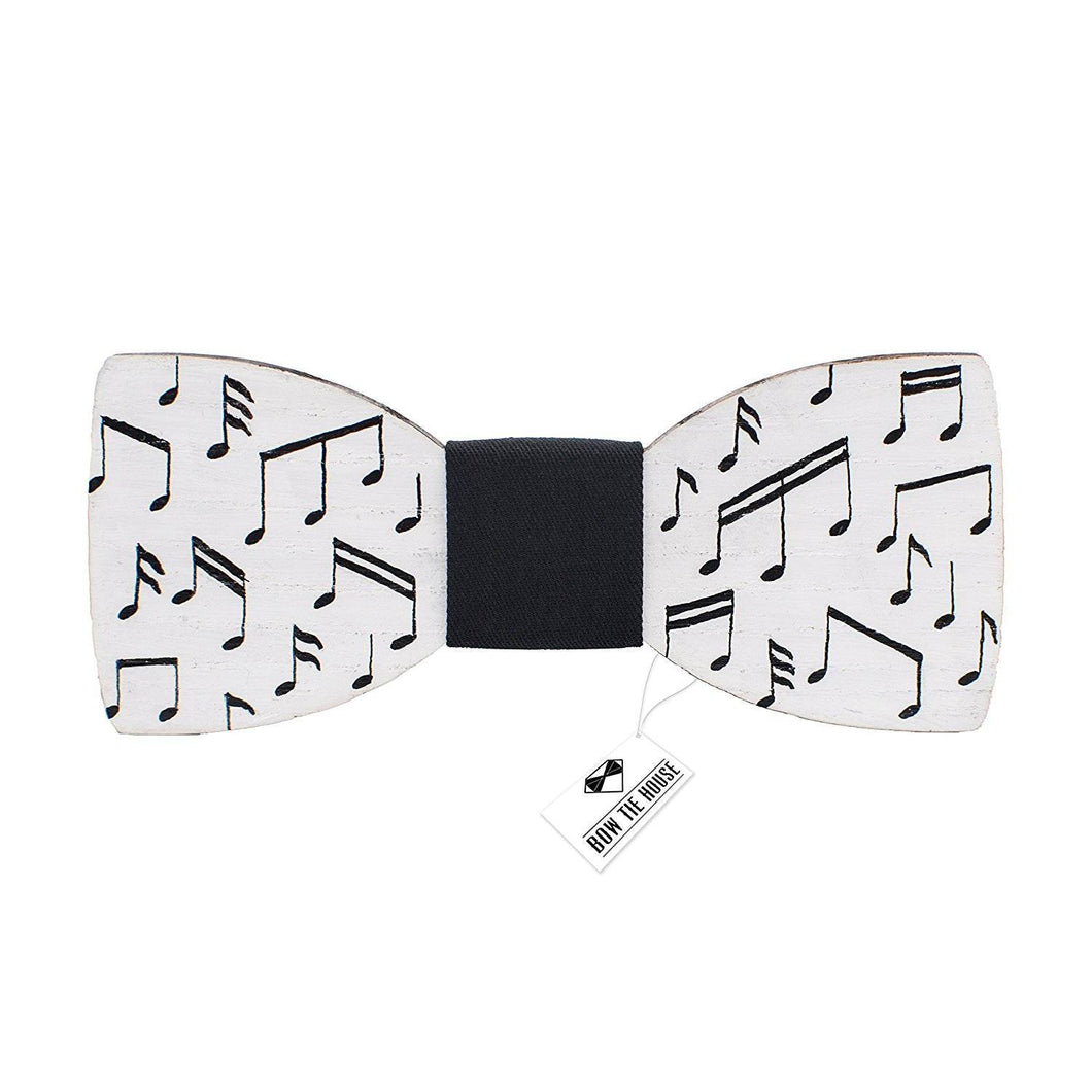 Wooden White Musical Notes Bow Tie - Bow Tie House