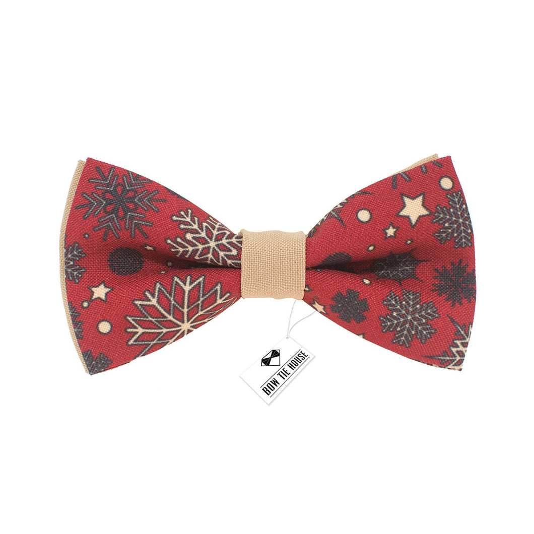 Christmas Red-Beige Bow Tie - Bow Tie House