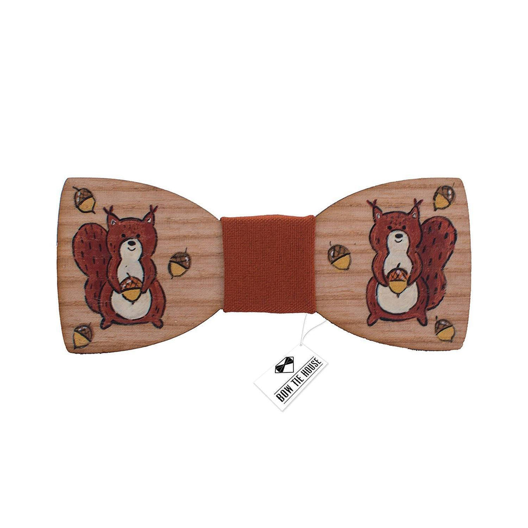 Wooden Brown Squirrel Bow Tie - Bow Tie House