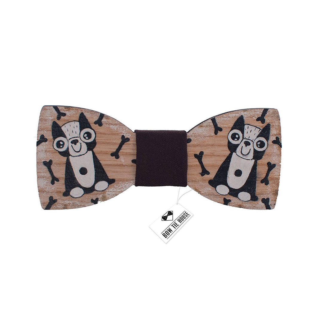 Wooden Dog Bow Tie