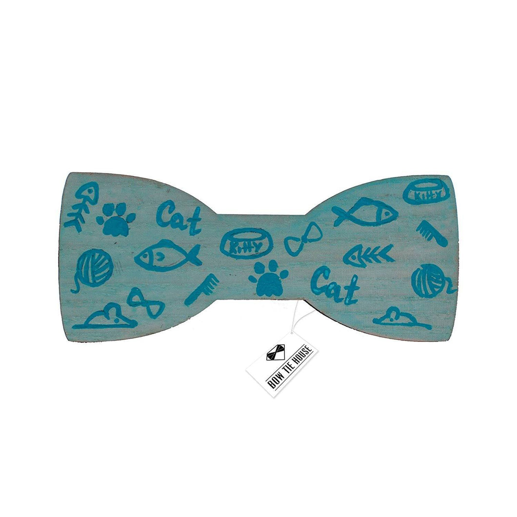 Wooden Fish Bone Turquoise Bow Tie - Bow Tie House