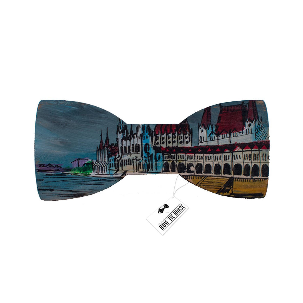 Wooden Budapest Hungary Bow Tie