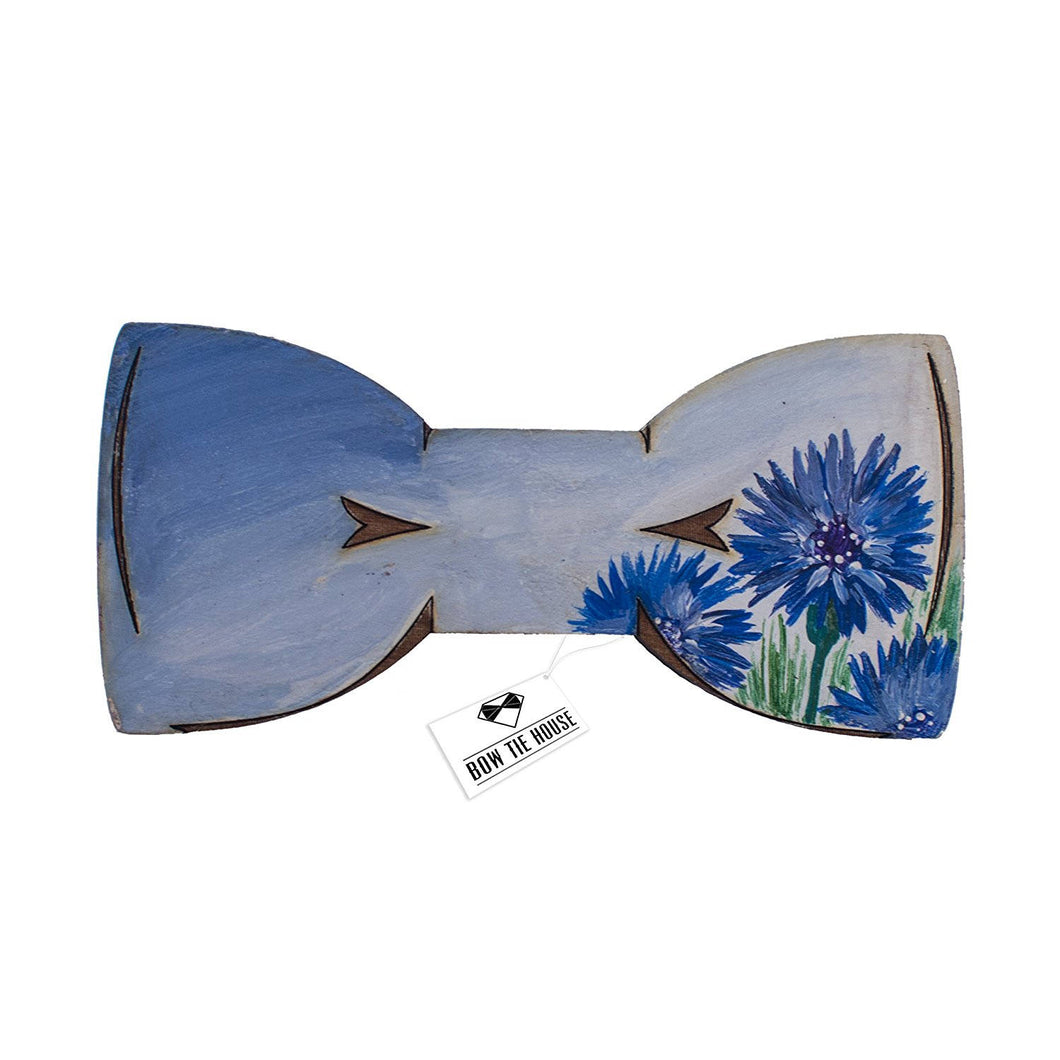 Wooden Cornflower Bow Tie