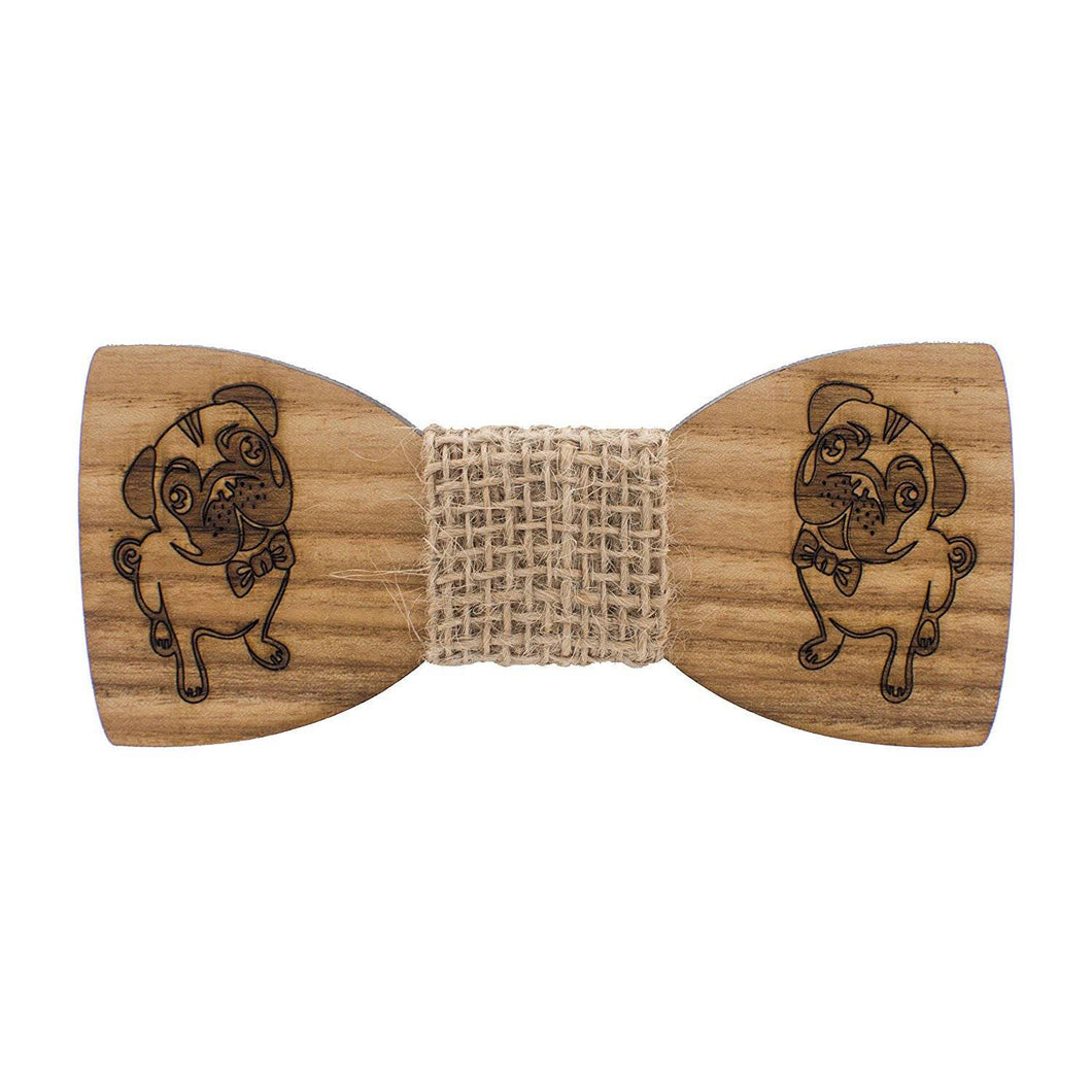 Wooden Pug-dog Bow Tie