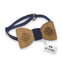 Wooden Compass Blue Bow Tie