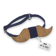 Wooden Blue Moustache Bow Tie