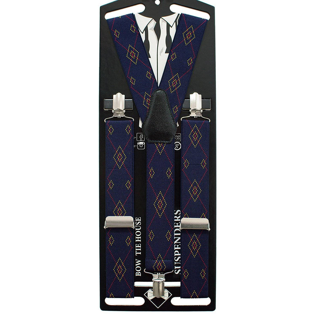 Blue Rhombus Suspenders - Bow Tie House