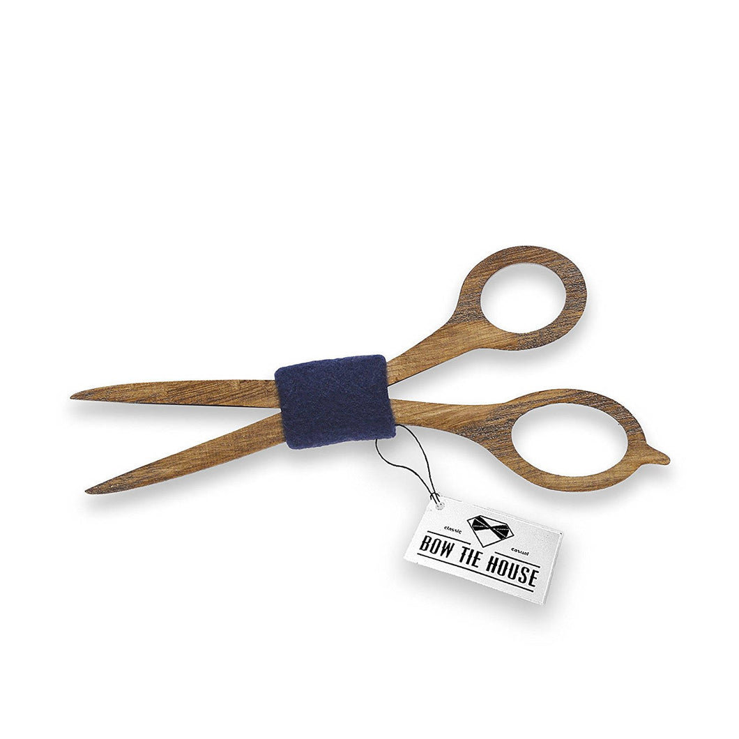 Wooden Scissors Blue Bow Tie
