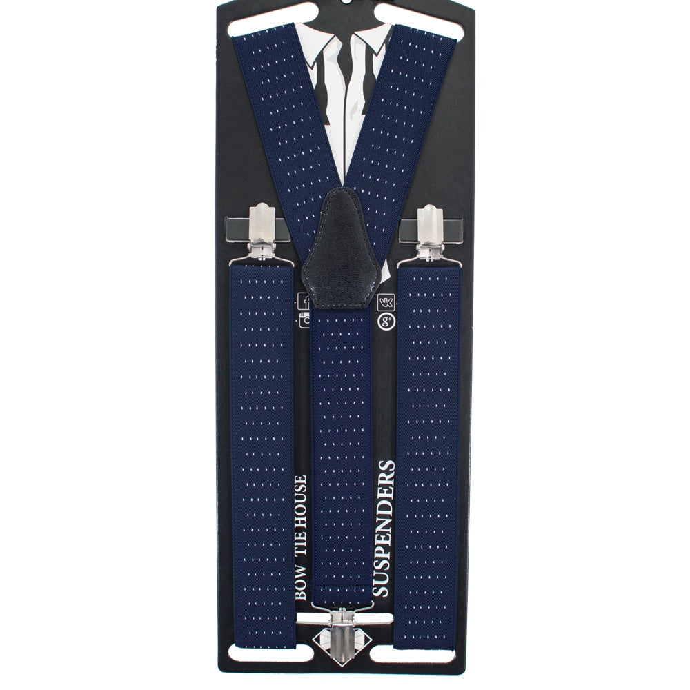 Navy Blue Dots Suspenders - Bow Tie House