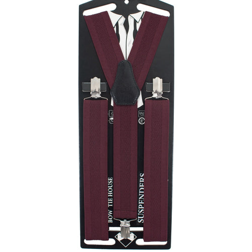 Red Solid Suspenders - Bow Tie House