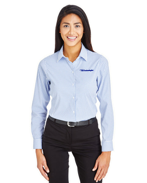 Devon & Jones CrownLux Performance™ Ladies' Micro Windowpane Shirt