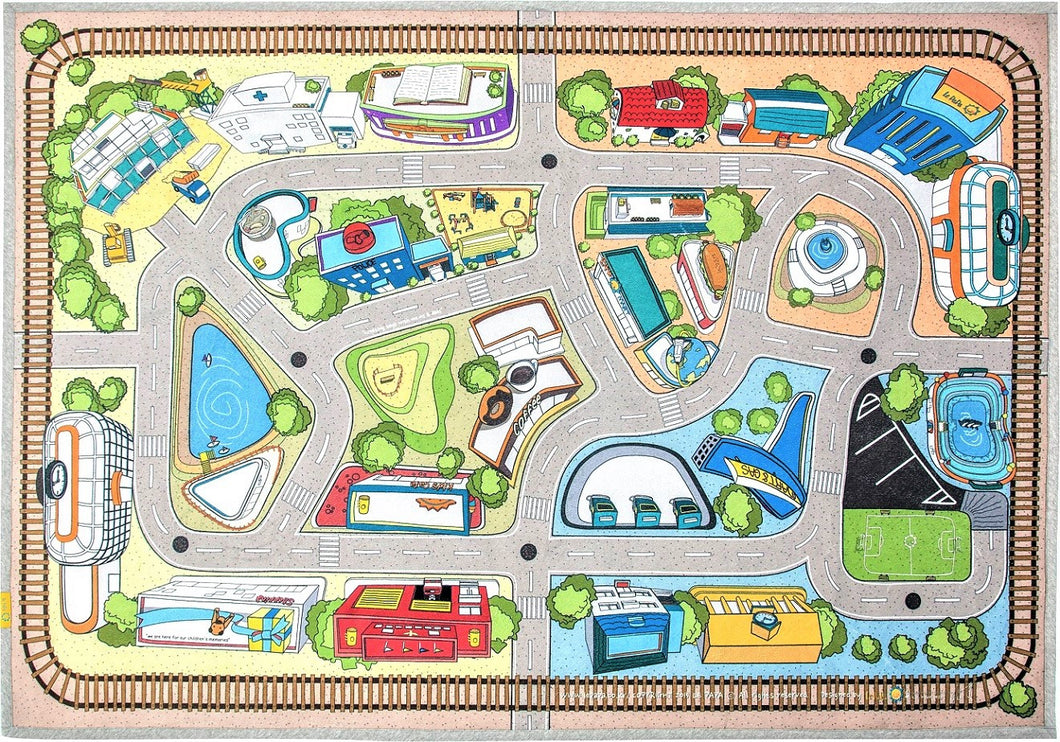 Kids Carpet Rug Car Village Play Mat For Kids Room Décor 79 X 55