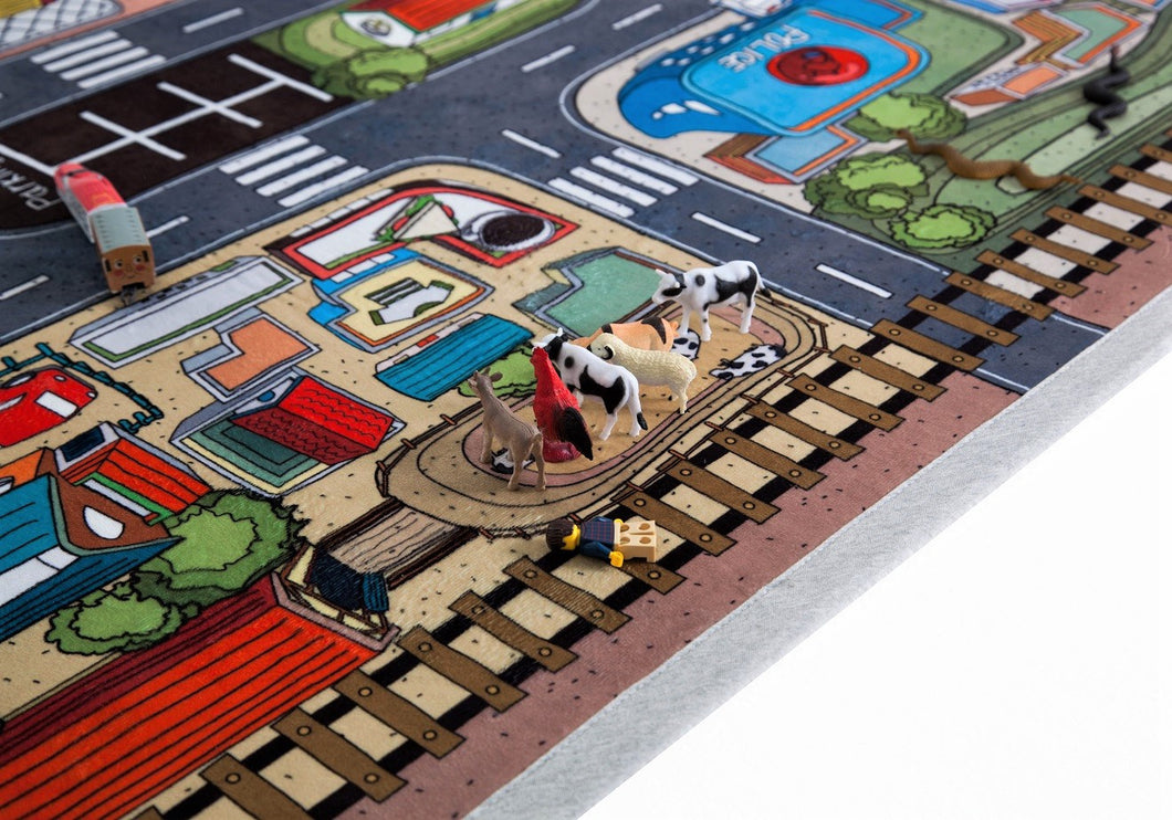 Kids Rug Little Car Town Road Playmat For Boys Room Décor 59 X 39