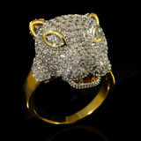 18k Gold Rhodium Iced Out Panther Ring