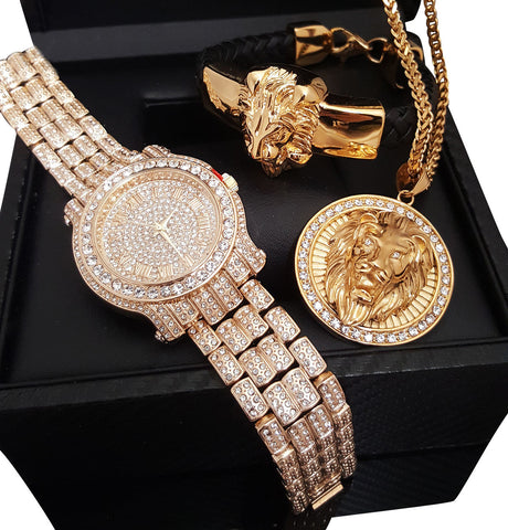 ICED OUT WATCH, LION NECKLACE & LEATHER BRACELET SET