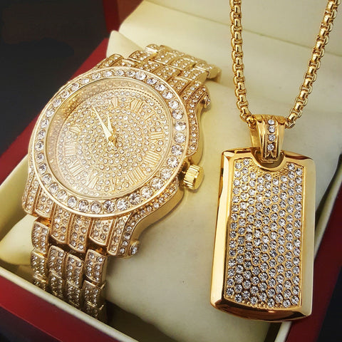ICED OUT DIAMOND WATCH & ICED DOG TAG NECKLACE SET