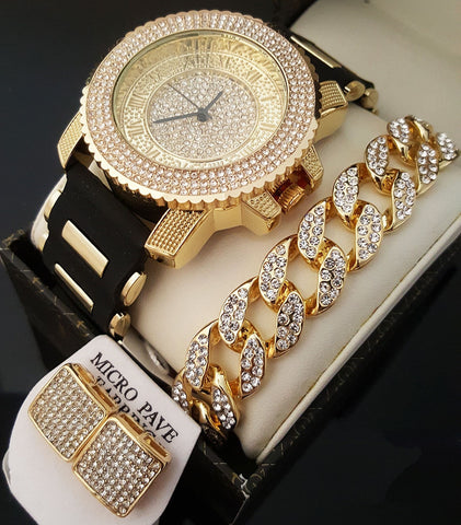 ICED OUT GOLD PT CZ WATCH, CUBAN BRACELET & EARRINGS SET