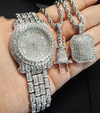 LUXURY ICED OUT WATCH, POWER PLUG & SQUARE NECKLACE SET