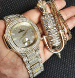 GOLD PT QUAVO WATCH & MICROPHONE NECKLACE SET