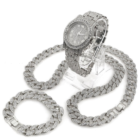 "DIAMOND PAVE WATCH, 30"" CUBAN STONE CHAIN & BRACELET SET"