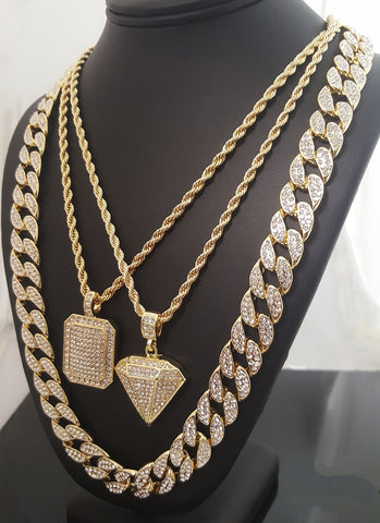 ICED OUT PENDANT , CUBAN CHAIN & HIP HOP NECKLACE SET