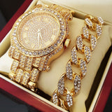 ICED OUT WATCH & CUBAN BRACELET & GRILLZ GIFT SET